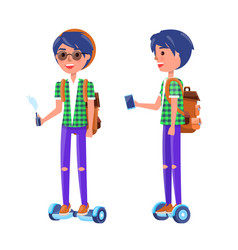 students with gyroscooter and vape boy vector image