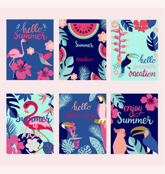 summer card set elements with quotes vector image