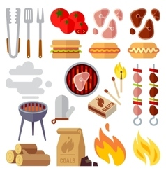 Summer picnic barbecue and grilled food steak vector