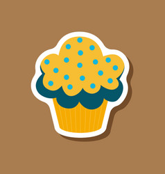 Sweet dessert in paper sticker muffin vector