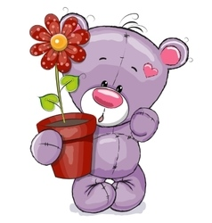 Teddy with flower vector