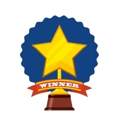 Trophy winner star isolated icon vector