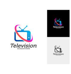 Tv creative logo concepts television logo design vector