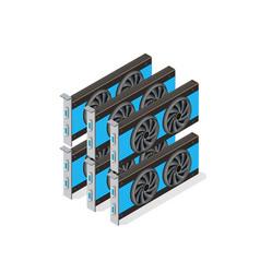 video card set of mining bitcoin vector image