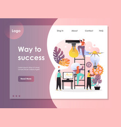 way to success website landing page design vector image