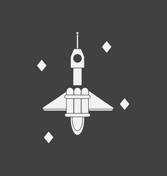 White icon on black background spaceship in space vector
