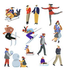winter outdoor activity and sport skiing and vector image