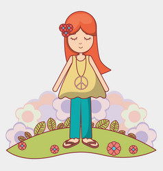 woman relaxing with flowers icon vector image