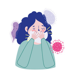 Woman with cold and tissue design vector