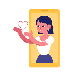 young woman from smartphone screen sending heart vector image