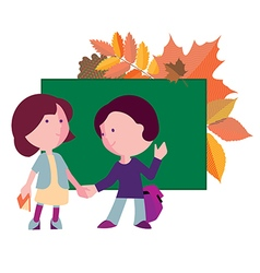 boy and girl the first day to the school vector image vector image