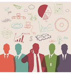 Business people group color silhouette vector image