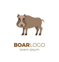 Flat boar logo vector image vector image