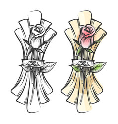 hand drawn rose and napkin vector image vector image