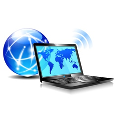 Internet Globe and Laptop world vector image vector image