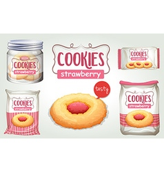 Set of strawberry cookies in different packages vector image vector image