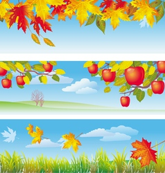 three autumn banners vector image vector image