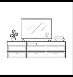 tv bench in thin line vector image vector image