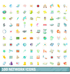 100 network icons set cartoon style vector image