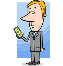 businessman and graph on tablet pc vector image vector image