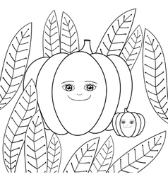 Cute pumpkins adult coloring book page Mother vector image vector image