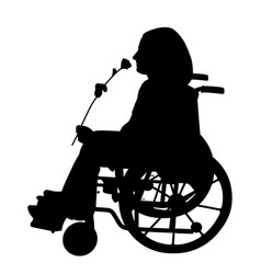 disabled person smelling rose and waiting someone vector image vector image