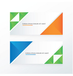 Green blue orange triangle banner vector