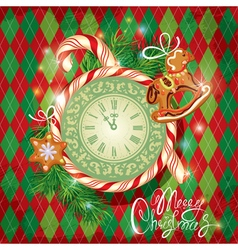 Card with watch candy xmas gingerbread vector image vector image