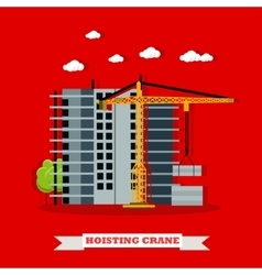 Construction site concept banner hoisting vector
