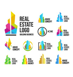 isolated colorful real estate agency logos set vector image vector image