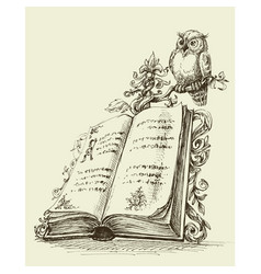 Open book vintage stand and cute owl vector
