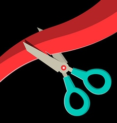 Scissors Cutting Red Ribbon on Black Background vector image vector image