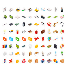 Big set of isometric volumetric of icons on a vector