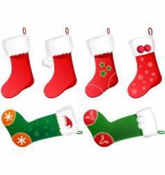 christmas stockings vector image vector image
