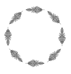 Decorative frame from Feathers Tribal vector image vector image