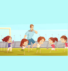 kids sport cartoon vector image vector image
