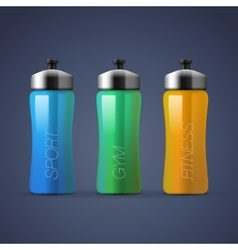 Set of blank colorful sports bottles for water vector image