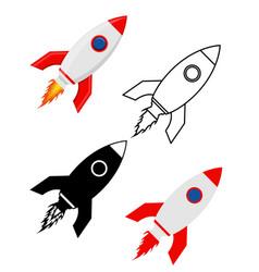 space rocket retro spaceship set flat icons vector image vector image