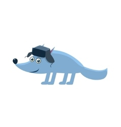 Wolf Wearing Hat With Ear Flaps vector image