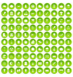 100 vacation icons set green circle vector