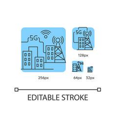 5g smart city blue linear icons set vector image
