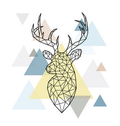 abstract polygonal head of a forest deer vector image