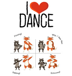 Animals and dance move vector