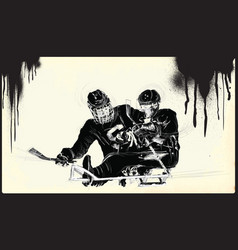 athletes with physical disabilities - ice hockey vector image