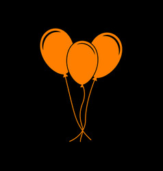 balloons set sign orange icon on black background vector image