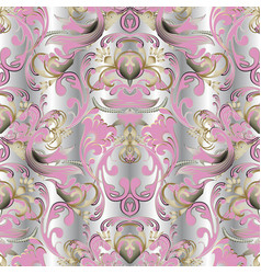baroque floral 3d seamless pattern damask vector image
