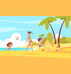 beach family holiday composition vector image