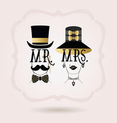 Black and golden abstract mr male and mrs female vector