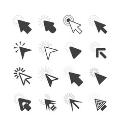 Black cursor pointers click icons set on white vector