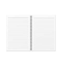 Blank open notebook and horizontal line template vector